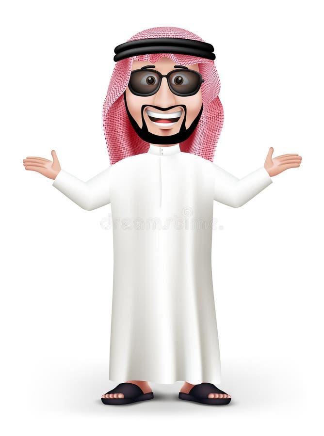 τρισδιάστατος όμορφος Σαουδάραβας - αραβικό άτομο στο παραδοσιακό φόρεμα απεικόνιση αποθεμάτων