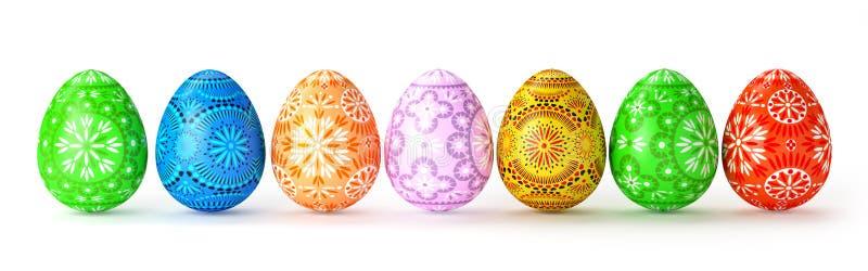 τρισδιάστατος δώστε 7 λαϊκών πολύχρωμων αυγών Πάσχας στοκ εικόνες
