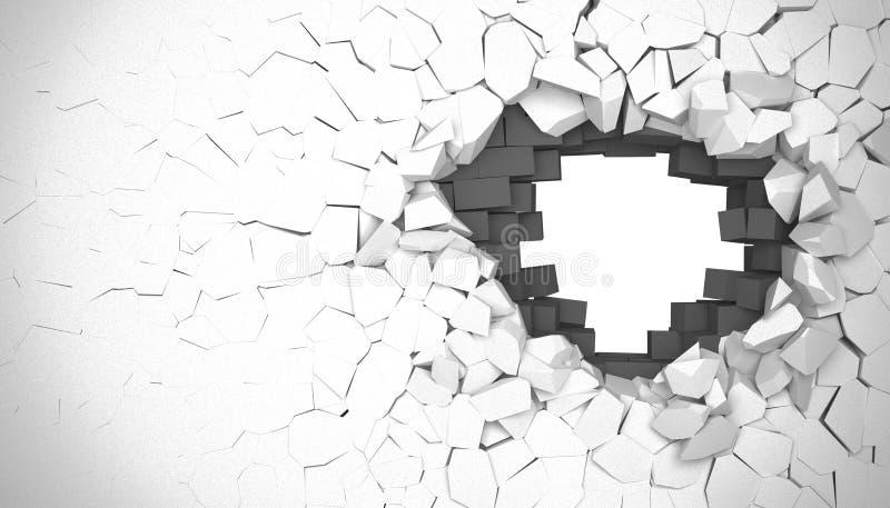 τρισδιάστατος δώστε Δημιουργική έννοια υποβάθρου: καταστροφή ενός τοίχου απεικόνιση αποθεμάτων