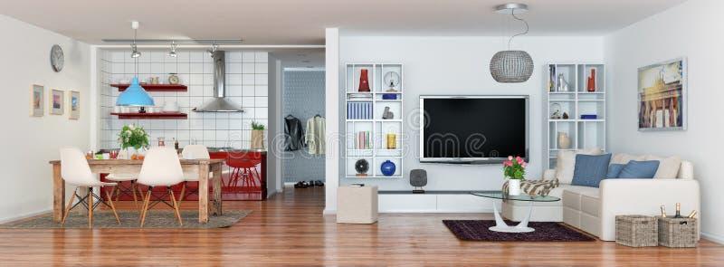 τρισδιάστατος δώστε σύγχρονου, πολυτελής, λαμπρά διαμέρισμα σοφιτών απεικόνιση αποθεμάτων