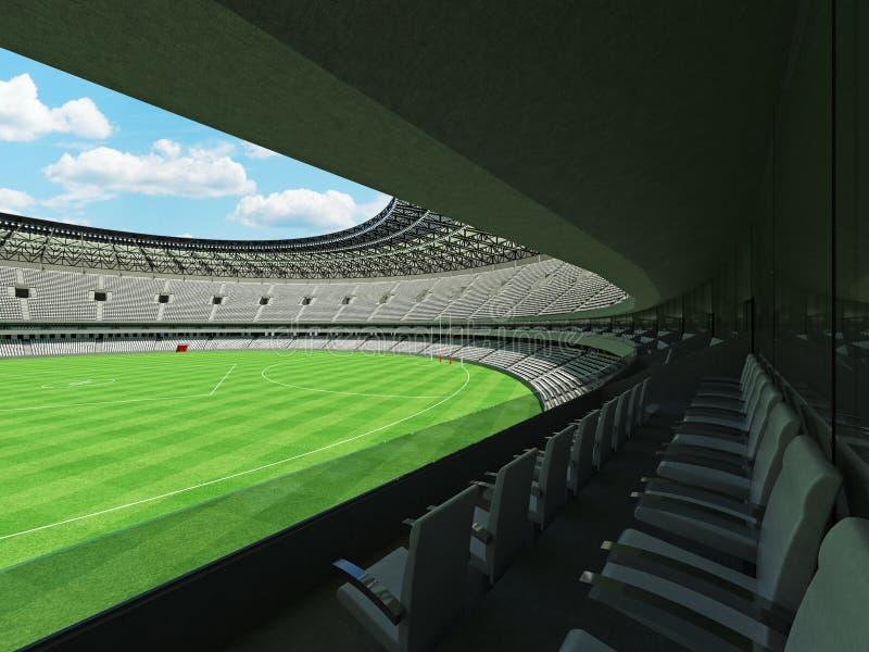 τρισδιάστατος δώστε τους στρογγυλούς αυστραλιανούς κανόνες γήπεδο ποδοσφαίρου με τα άσπρα καθίσματα διανυσματική απεικόνιση