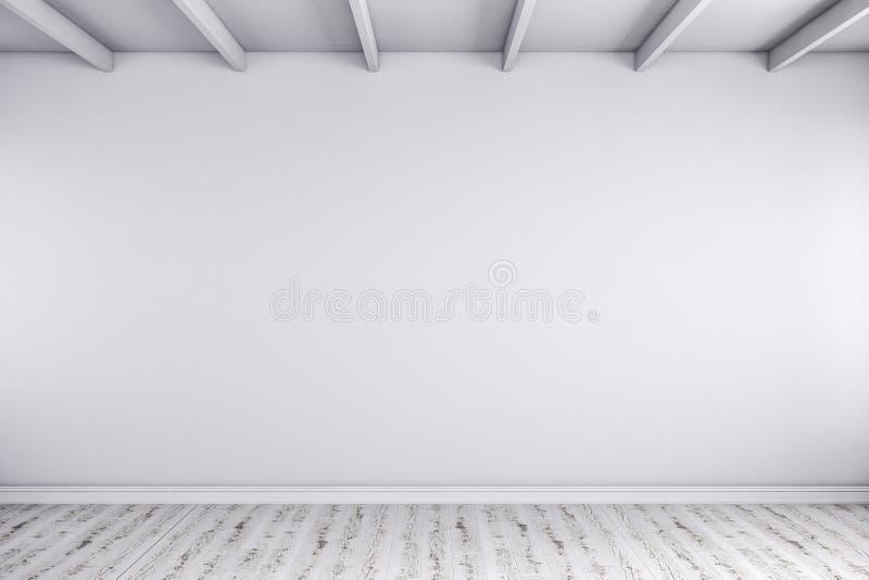 τρισδιάστατος δώστε του κενού δωματίου με τους άσπρους τοίχους και το ξύλινο πάτωμα διανυσματική απεικόνιση