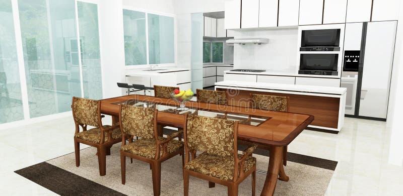 τρισδιάστατος δώστε του σύγχρονου εσωτερικού κουζινών διανυσματική απεικόνιση