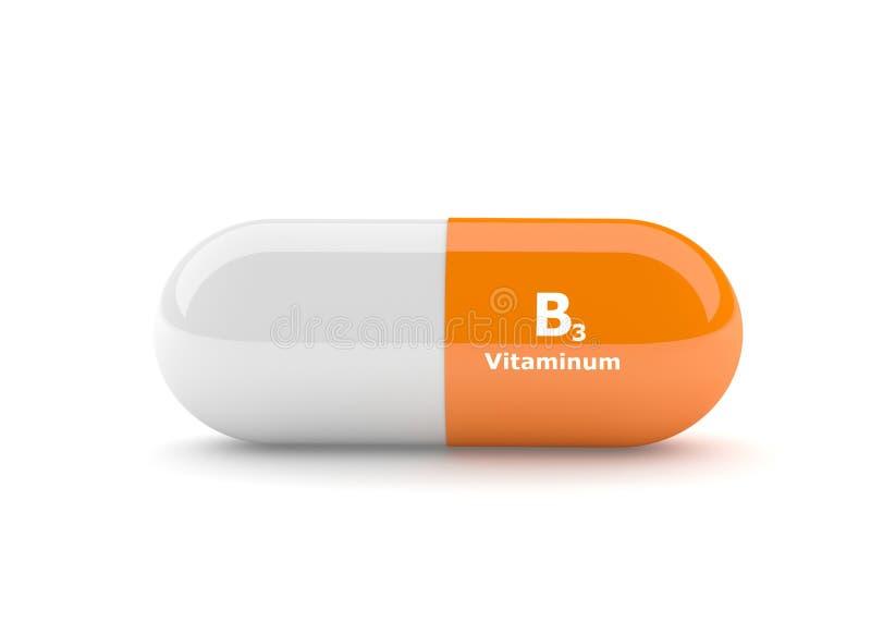 τρισδιάστατος δώστε του χαπιού βιταμινών B3 πέρα από το λευκό ελεύθερη απεικόνιση δικαιώματος