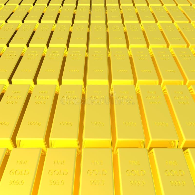 τρισδιάστατος δώστε του χρυσού υποβάθρου φραγμών στοκ φωτογραφία
