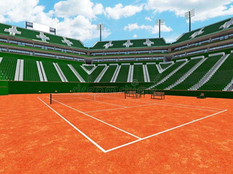 τρισδιάστατος δώστε του όμορφου σύγχρονου σταδίου δικαστηρίων αργίλου αντισφαίρισης τα πράσινα καθίσματα για δεκαπέντε χιλιάες θα απεικόνιση αποθεμάτων