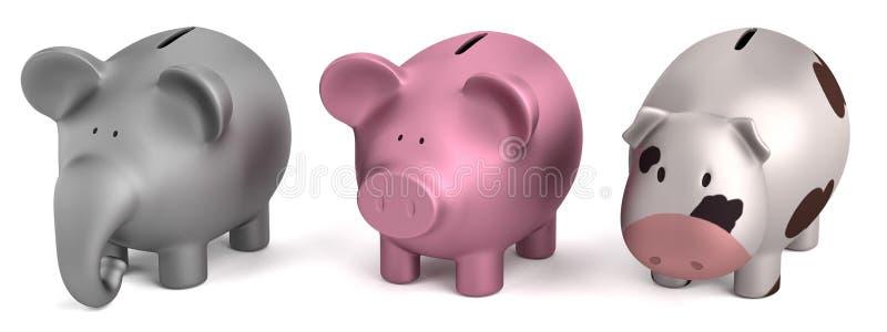 τρισδιάστατος δώστε των piggy τραπεζών διανυσματική απεικόνιση