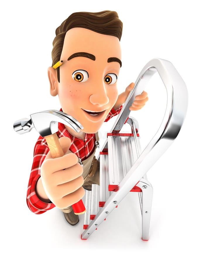 τρισδιάστατος handyman στο stepladder με το σφυρί νυχιών ελεύθερη απεικόνιση δικαιώματος