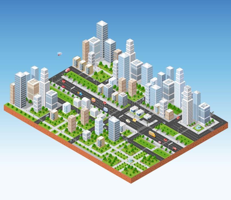Τρισδιάστατος isometric Megapolis διανυσματική απεικόνιση