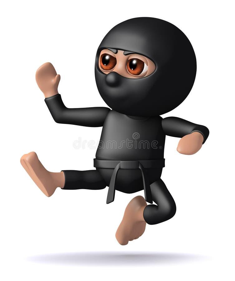 τρισδιάστατο λάκτισμα Ninja απεικόνιση αποθεμάτων