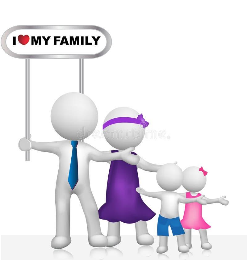 τρισδιάστατο άσπρο μικρό διάνυσμα οικογενειακών λογότυπων ανθρώπων απεικόνιση αποθεμάτων