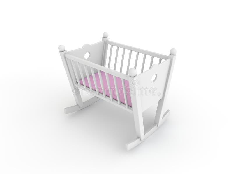 Άσπρο παχνί για το κοριτσάκι απεικόνιση αποθεμάτων