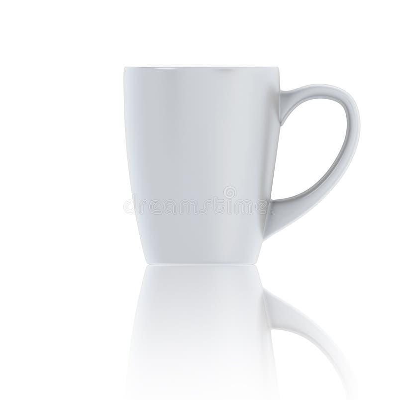 τρισδιάστατο άσπρο φλυτζάνι απεικόνισης της μπροστινής άποψης τσαγιού διανυσματική απεικόνιση