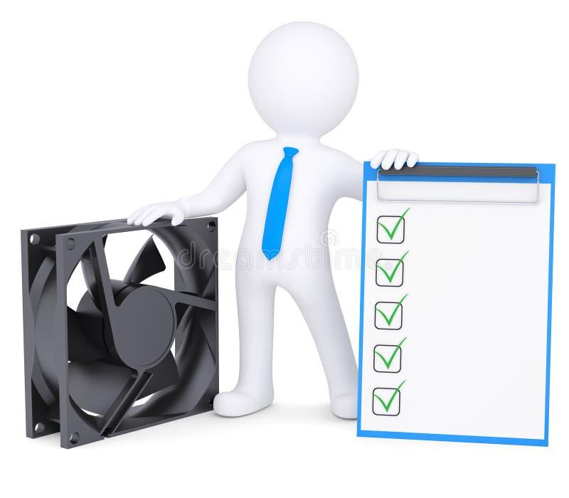 τρισδιάστατο άτομο δίπλα σε έναν ανεμιστήρα υπολογιστών ελεύθερη απεικόνιση δικαιώματος