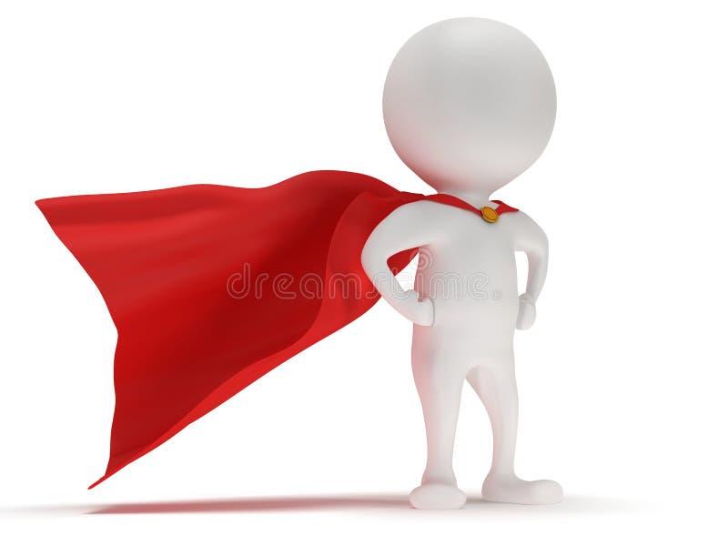 τρισδιάστατο άτομο - γενναίο superhero με τον κόκκινο επενδύτη ελεύθερη απεικόνιση δικαιώματος