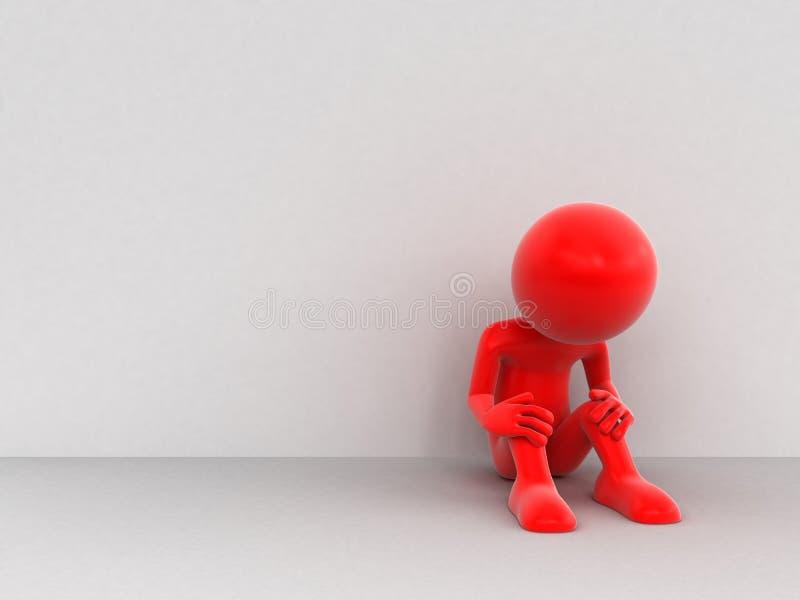 τρισδιάστατο άτομο - θλίψη ελεύθερη απεικόνιση δικαιώματος