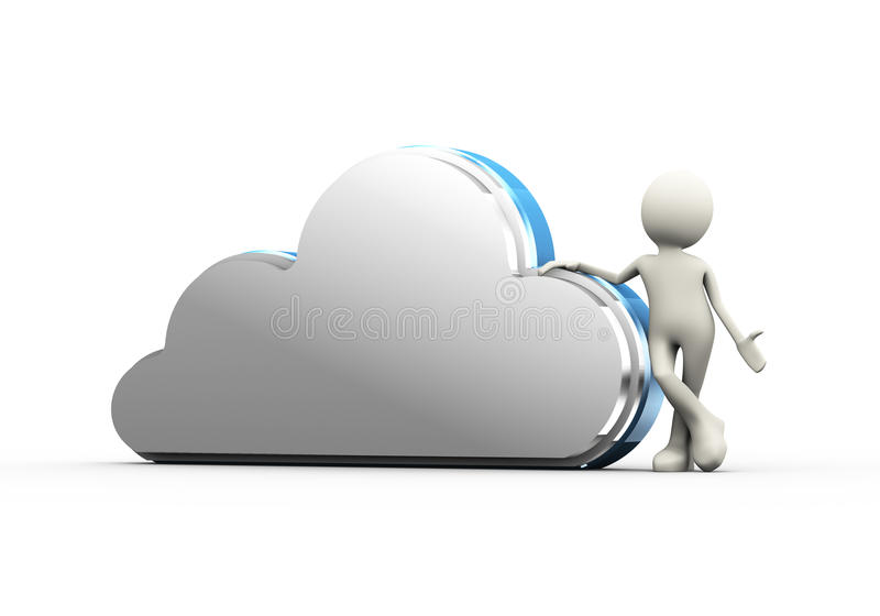 τρισδιάστατο άτομο με την έννοια υπολογισμού σύννεφων απεικόνιση αποθεμάτων