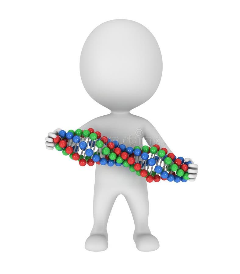 τρισδιάστατο άτομο με την αλυσίδα DNA στο λευκό ελεύθερη απεικόνιση δικαιώματος