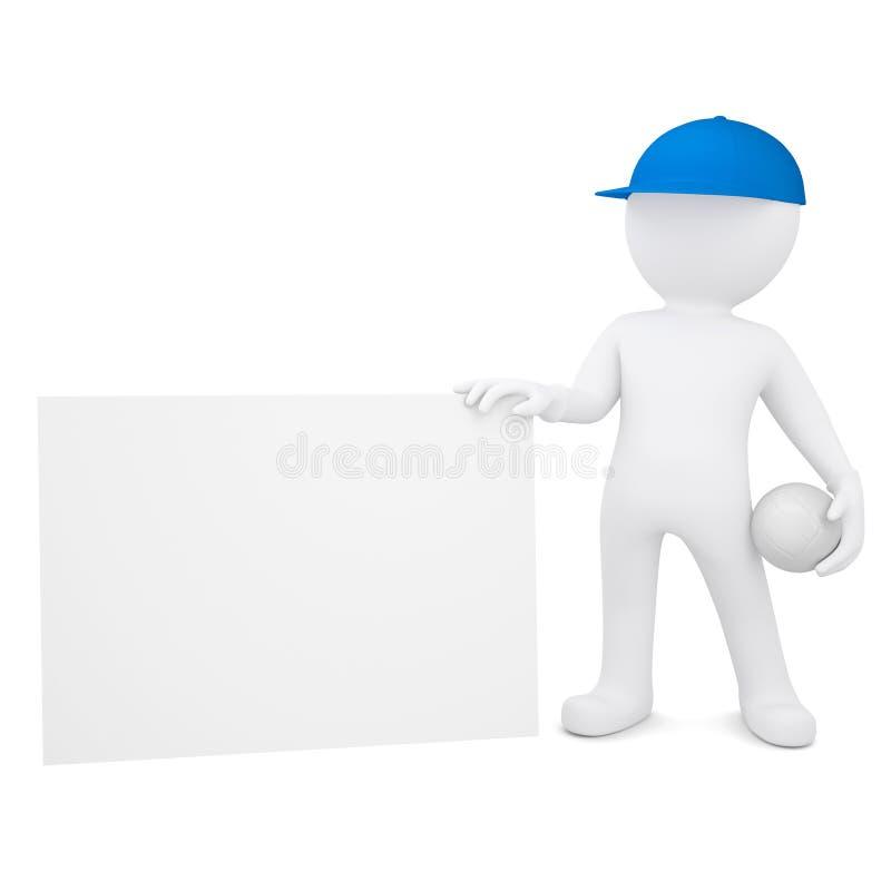 τρισδιάστατο άτομο με την κενή επαγγελματική κάρτα λαβής πετοσφαίρισης ελεύθερη απεικόνιση δικαιώματος