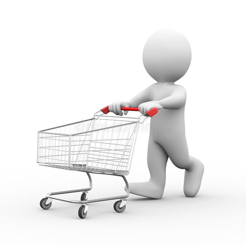τρισδιάστατο άτομο με το καροτσάκι κάρρων αγορών διανυσματική απεικόνιση