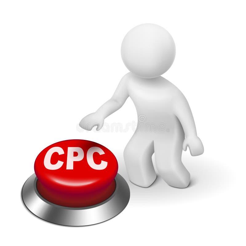 τρισδιάστατο άτομο με το κουμπί CPC (κόστος ανά κρότο) διανυσματική απεικόνιση