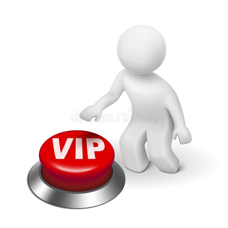 τρισδιάστατο άτομο με το VIP (πολύ σημαντικό πρόσωπο) κουμπί ελεύθερη απεικόνιση δικαιώματος