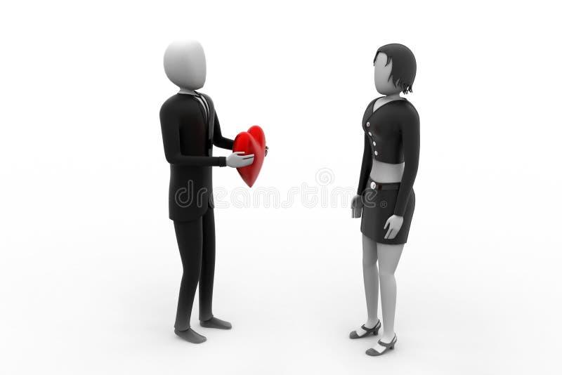 τρισδιάστατο άτομο που δίνει την καρδιά στον εραστή του διανυσματική απεικόνιση