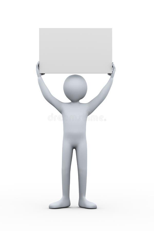 τρισδιάστατο άτομο που κρατά τον κενό κενό πίνακα απεικόνιση αποθεμάτων