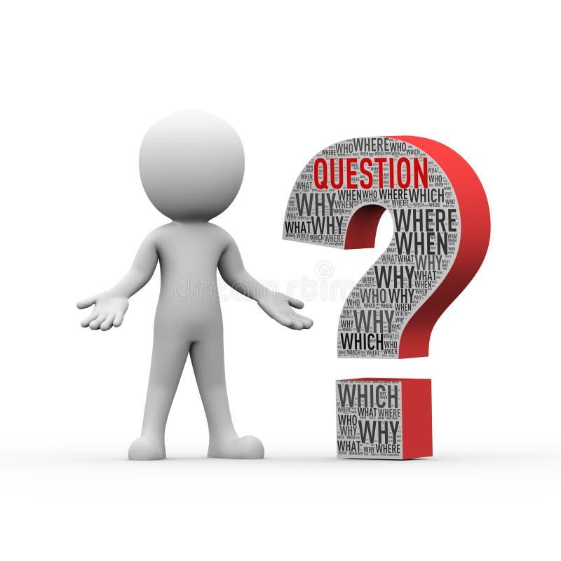 τρισδιάστατο άτομο που στέκεται με το ερωτηματικό wordcloud ελεύθερη απεικόνιση δικαιώματος