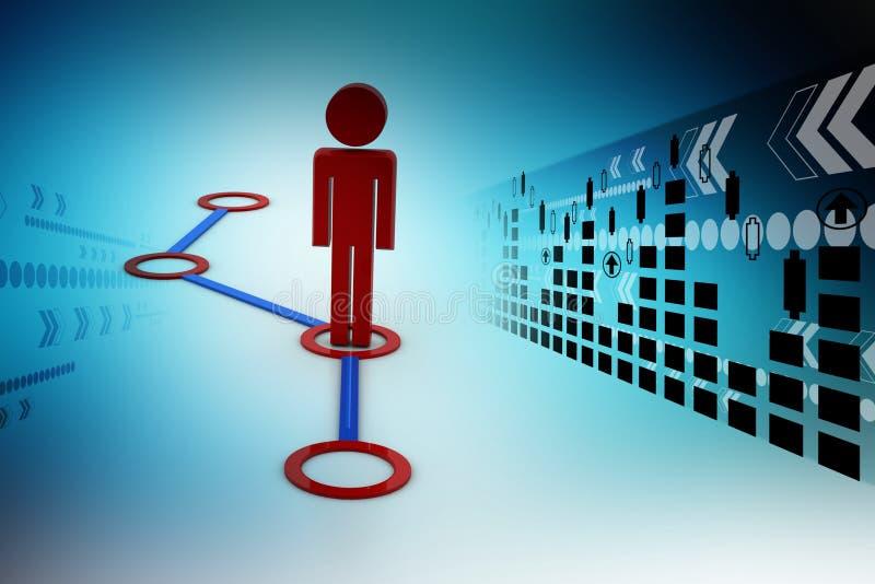 τρισδιάστατο άτομο σε ένα δίκτυο διανυσματική απεικόνιση