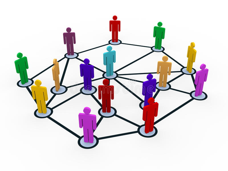 τρισδιάστατο δίκτυο επιχειρησιακών επικοινωνιών ανθρώπων διανυσματική απεικόνιση
