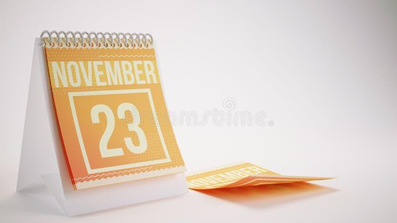 τρισδιάστατο δίνοντας καθιερώνον τη μόδα ημερολόγιο χρωμάτων στο άσπρο υπόβαθρο - novemb ελεύθερη απεικόνιση δικαιώματος