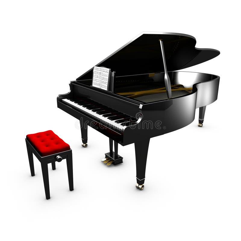 τρισδιάστατο ανοιγμένο μεγάλο πιάνο και η καρέκλα του απεικόνιση αποθεμάτων