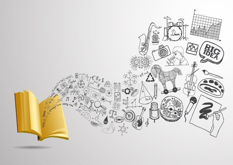 τρισδιάστατο ανοικτό βιβλίο με τα ρέοντας εκπαιδευτικά doodles για το υπόβαθρο έτοιμος να χρησιμοποιήσει ελεύθερη απεικόνιση δικαιώματος