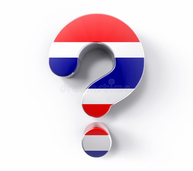 τρισδιάστατο απομονωμένο ερωτηματικό σημαιών της Ταϊλάνδης Υποστήριξη λύσης αμφιβολίας απεικόνιση αποθεμάτων
