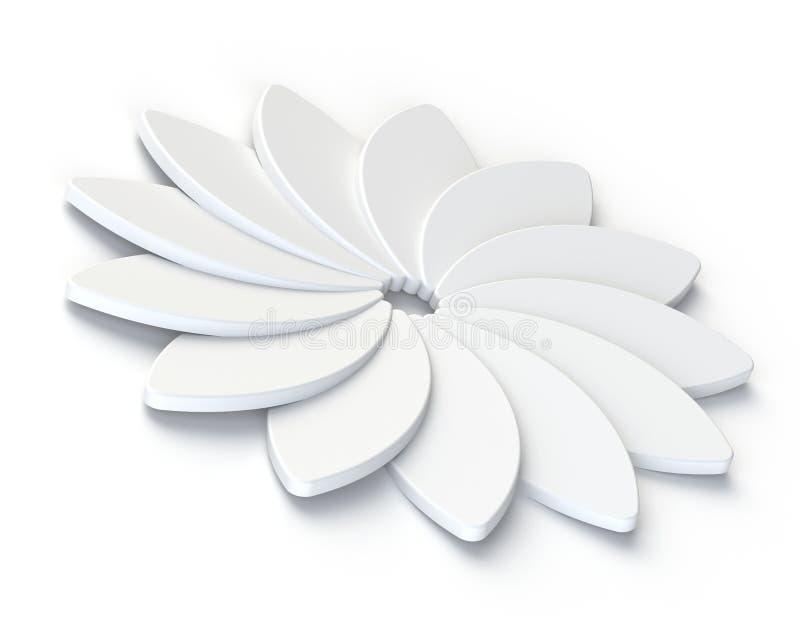 τρισδιάστατο αφηρημένο άσπρο λουλούδι στο άσπρο υπόβαθρο ελεύθερη απεικόνιση δικαιώματος