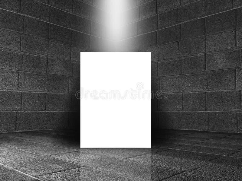 τρισδιάστατο εσωτερικό δωματίων πετρών με τον κενό καμβά διανυσματική απεικόνιση
