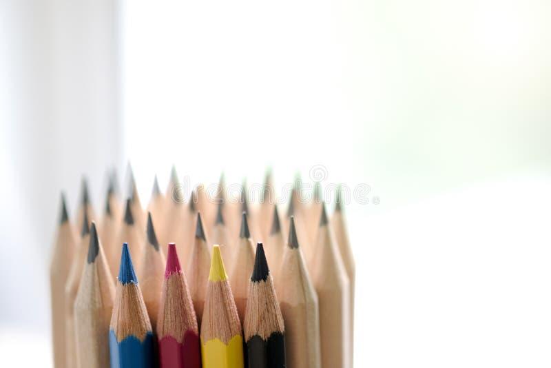 τρισδιάστατο λευκό μολυβιών cmyk στοκ εικόνα με δικαίωμα ελεύθερης χρήσης
