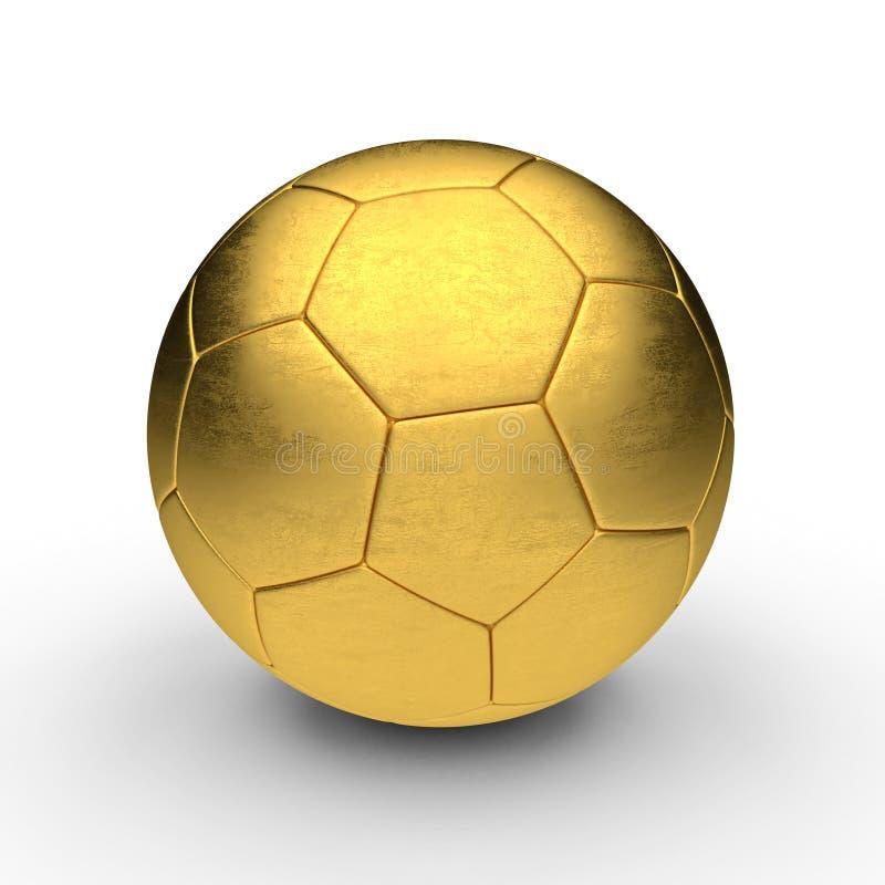τρισδιάστατο λευκό ποδοσφαίρου σφαιρών χρυσό απομονωμένο εικόνα διανυσματική απεικόνιση