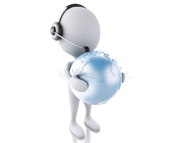 τρισδιάστατο λευκό πρόσωπο με τα ακουστικά και τη γήινη σφαίρα Σφαιρικός communic διανυσματική απεικόνιση