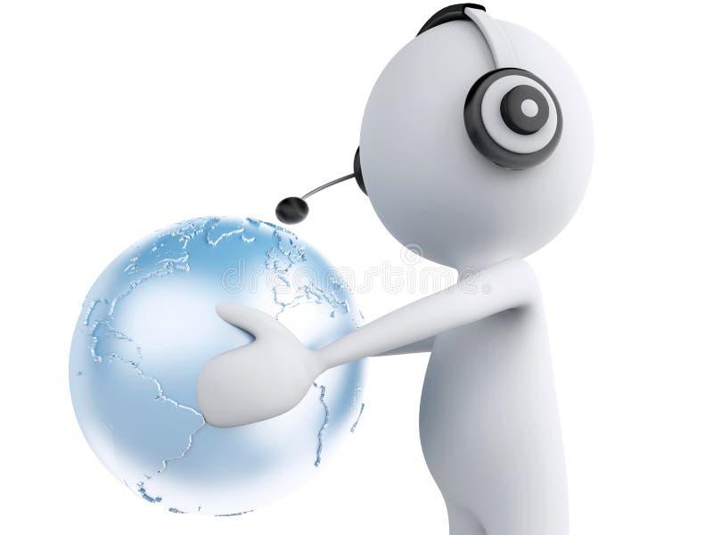 τρισδιάστατο λευκό πρόσωπο με τα ακουστικά και τη γήινη σφαίρα Σφαιρικός communic ελεύθερη απεικόνιση δικαιώματος