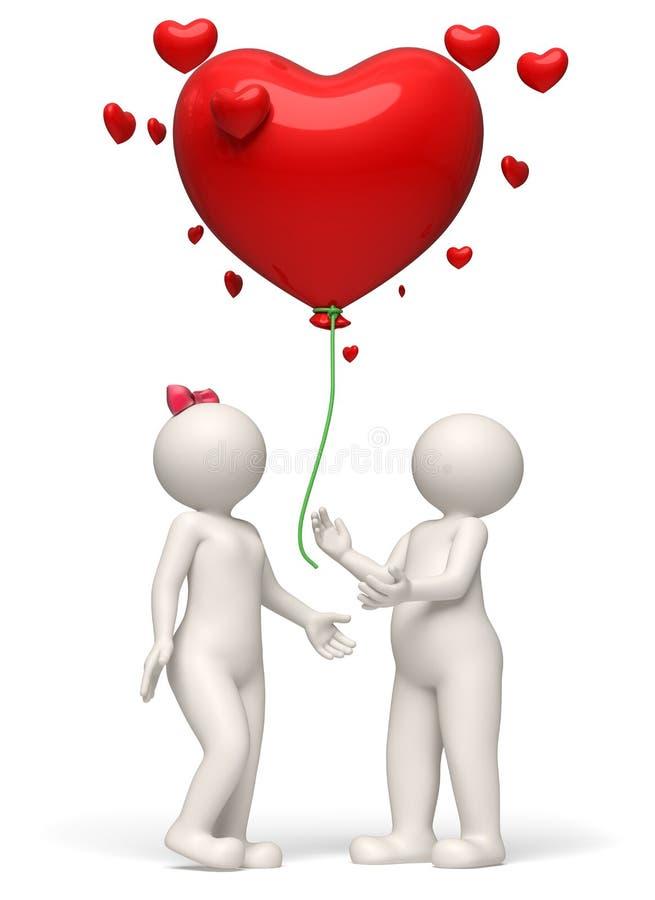 τρισδιάστατο ζεύγος που απελευθερώνει κόκκινο ημερησίως βαλεντίνων μπαλονιών καρδιών διανυσματική απεικόνιση