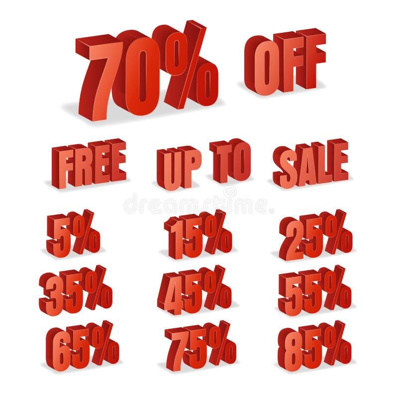 Τρισδιάστατο διάνυσμα αριθμών έκπτωσης Κόκκινο εικονίδιο ποσοστού πώλησης που τίθεται στο τρισδιάστατο ύφος που απομονώνεται στο  απεικόνιση αποθεμάτων