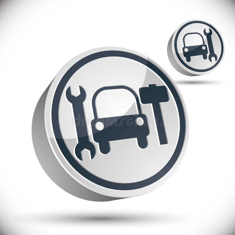 Τρισδιάστατο διανυσματικό εικονίδιο επισκευής αυτοκινήτων ελεύθερη απεικόνιση δικαιώματος