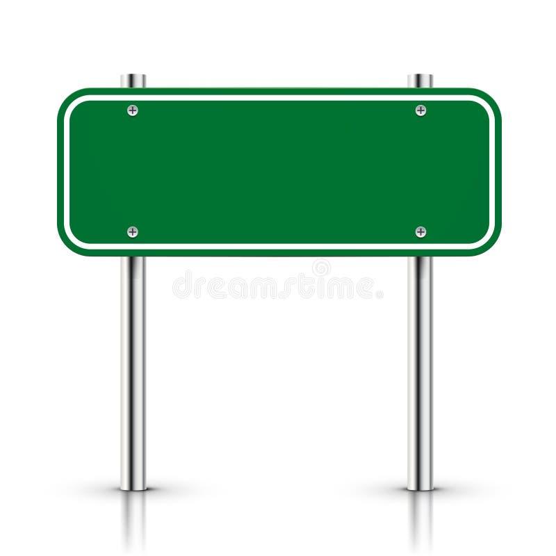 τρισδιάστατο διανυσματικό κενό πράσινο οδικό σημάδι κυκλοφορίας ελεύθερη απεικόνιση δικαιώματος