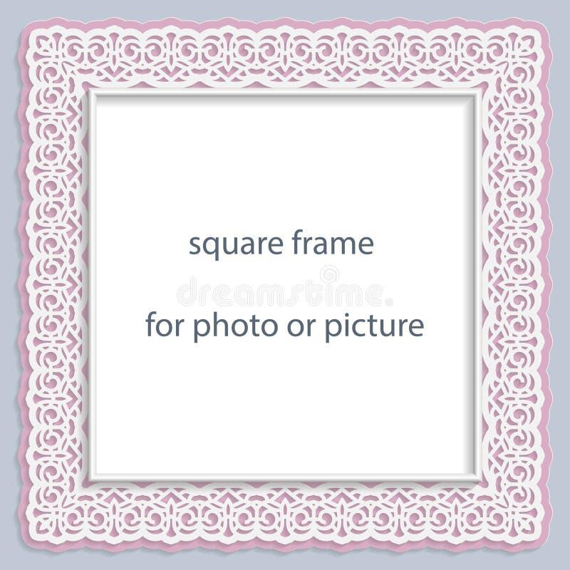 τρισδιάστατο διανυσματικό τετραγωνικό πλαίσιο bas-ανακούφισης για τη φωτογραφία ή την εικόνα, εκλεκτής ποιότητας σύντομο χρονογρά απεικόνιση αποθεμάτων