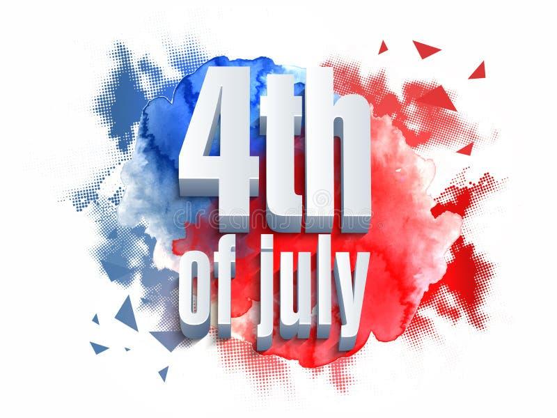 τρισδιάστατο κείμενο για 4ο του εορτασμού Ιουλίου διανυσματική απεικόνιση