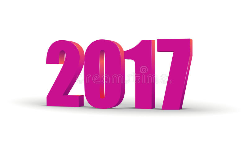 Τρισδιάστατο κείμενο εορτασμού καλής χρονιάς 2017 Κόκκινο ημερολογιακό πρότυπο αριθμού του 2017 Ζωηρόχρωμος, ογκομετρικός χαρακτή διανυσματική απεικόνιση