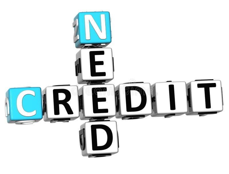 τρισδιάστατο κείμενο πιστωτικών σταυρόλεξων ανάγκης απεικόνιση αποθεμάτων