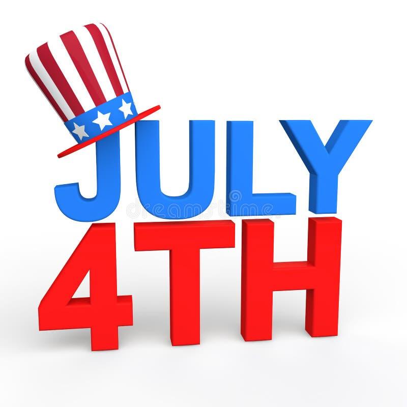 τρισδιάστατο κείμενο στις 4 Ιουλίου με το αμερικανικό καπέλο διανυσματική απεικόνιση